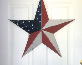"Red, White and Blue Americana Large Barn Star - 24"" five point Barn Star - July 4th - Large Barn star  - Patriotic decor"