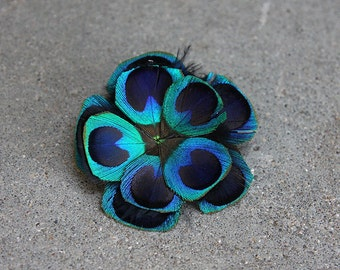 Brilliant Blue Peacock Boutonniere - MADE TO ORDER