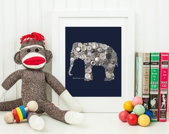 Elephant Wall Art Nursery Elephant Decoration Button Art Elephant Button Art & Swarovski Art Elephant Silhouette Baby Shower Gift Nurseries