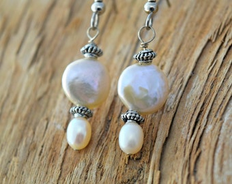 White Coin Pearl Earrings - Bridal Jewelry - Freshwater Pearl Dangle Earrings