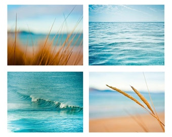 Ocean Photography print set nautical decor beach photography surf photos waves 8x10 16x20 inch blue teal wall art sand summer macro photo