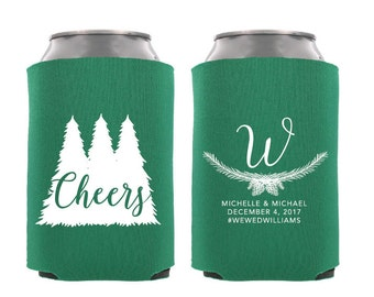 Cheers Personalized Wedding Cooler, Winter Wedding Favors with Trees, Christmas Wedding Favors, Pinecones, Last Name Initial, Leaves - T398