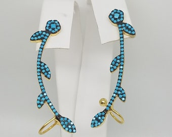 ear climbers sterling silver gold plated turquois colored