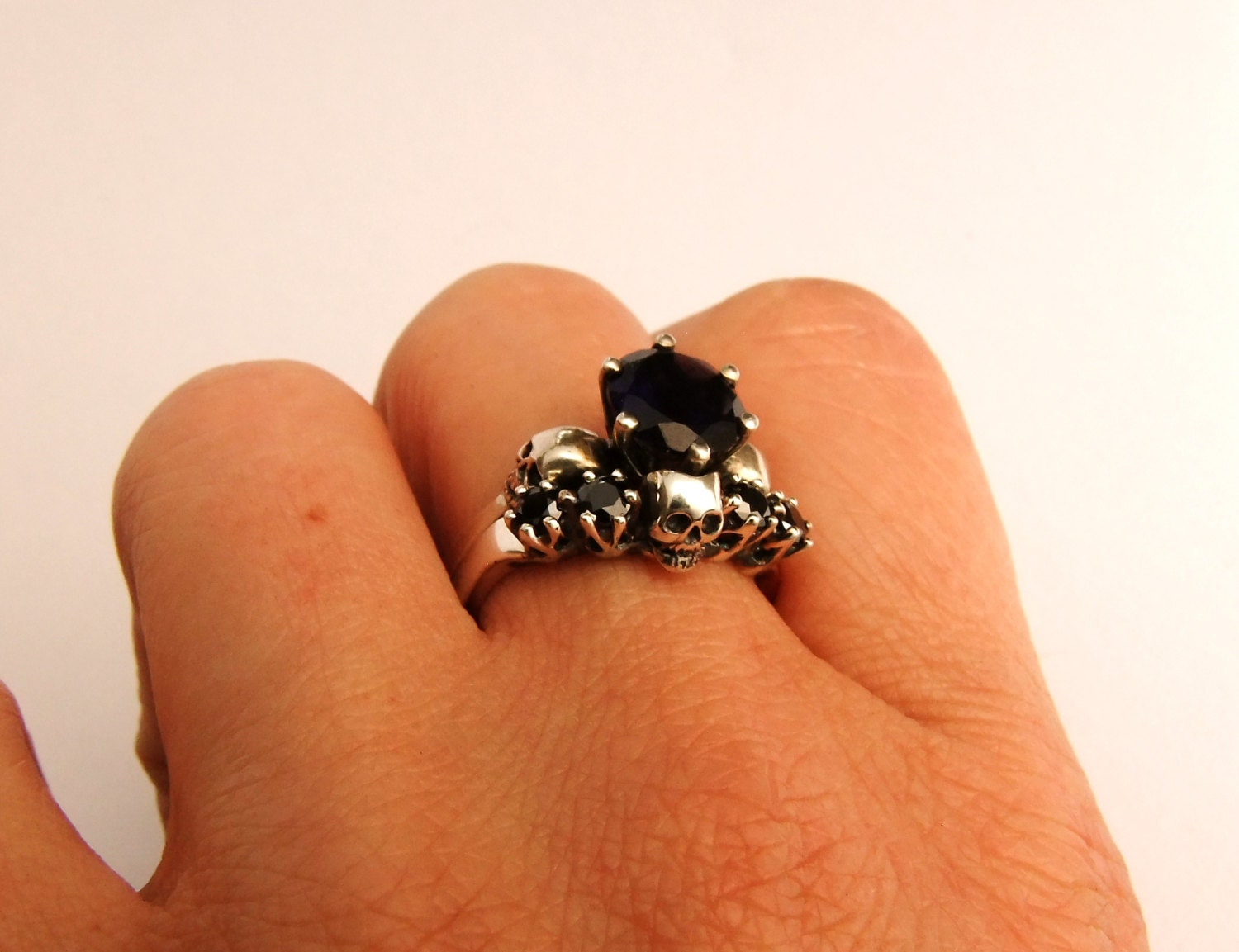 Skull wedding ring set skull anniversary ring dark bridal set