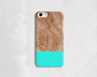 Mint iPhone 8 Case Wood, iPhone 6 Case Wood, iPhone 7 Case Wood and Mint, Samsung Galaxy S6 Case, mint iPhone Case – Not Real Wood