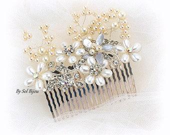 Wedding Hair Comb Fascinator with Pearls and Crystals Bridal Headpiece Comb Silver Pearl Vines Elegant Wedding