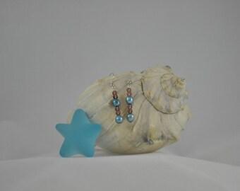 Cultured pearl earrings, Teal earrings, Purple earrings, Dangle earrings, Silver earrings, Silver jewelry
