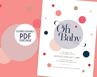 Oh Baby Shower Invitation, Printable PDF, Instant Download