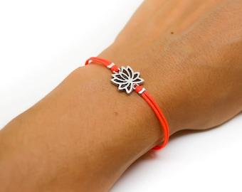 Lotus bracelet, cord bracelet with silver lotus charm, buddhist symbol, bright peach cord, zen, flower, yoga bracelet, spiritual jewelry
