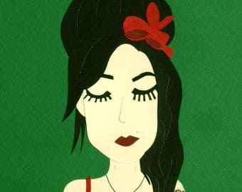 Amy Winehouse green collage / Papercraft - papercut handmade / hand-made paper cut illustration face