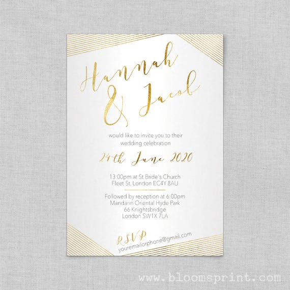 Modern wedding invitation gold, Wedding reception invites, Wedding invitation sets in gold, Elegant modern wedding invitations, A5