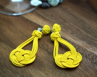 925 Silver Earrings, by Chinese Knot Heart Shape Pattern, choose your color