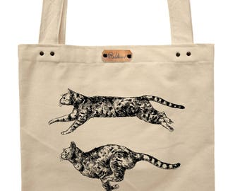 Running cats  - hand printed cotton tote bag