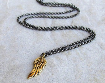 Black and Gold Angel Wing Necklace, Long Adjustable 30in Rolo Chain, Handmade Clasp, Minimalist Layering Boho Jewelry