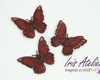 1 embroidered organza Wings Butterfly double Brown individually