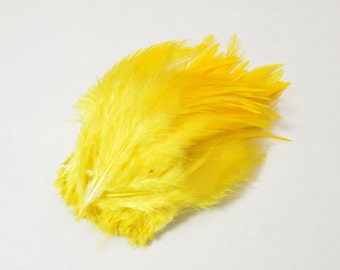 Rooster Saddle Feathers - Sunburst Yellow, 2 inch strip (50-60pcs)