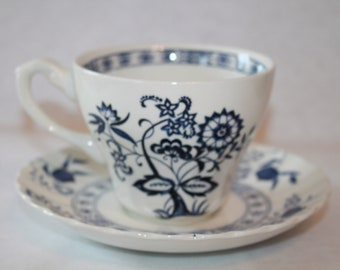 H3 J & G Meakin Classic Blue Nordic Blue Onion Made In England Flat Cup and Saucer Set Tea Scallop Edge Ironstone