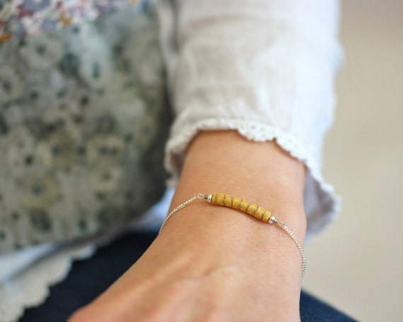 Minimal yellow bracelet on sterling silver 'Asphodèle'