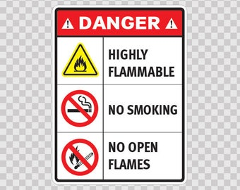 Decals Stickers Danger Highly Flammable No Smoking No Open Flames 14444