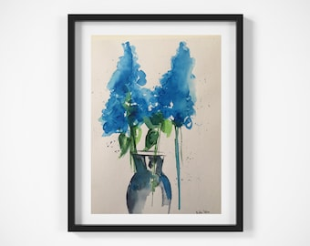 Original watercolor watercolor painting picture unique blue flowers lilac painting minimalist art-CA 9.5 inches x 12.6 inches (24 x 32 cm)