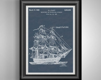 USS Constitution Navy Retirement Gifts * Nautical Nursery Prints * Nautical Decor * Office Decor * Office Wall Art * Office Artwork PP 8913