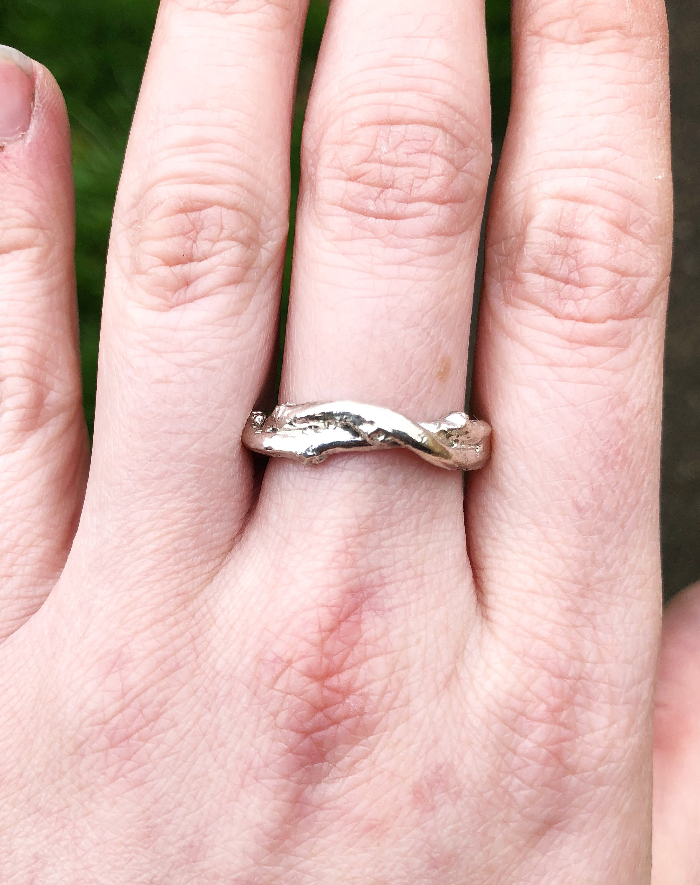 Mens twig wrapped wedding band, sterling silver mens band, wedding ...