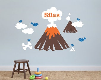 Dinosaur Volcano Wall Decal Personalized Name Dino Baby Nursery Room Decor Kids Prehistoric Room Theme