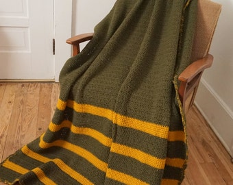 """Army Olive Green and Gold Vintage Crocheted Afghan  74"""" x 46"""""""