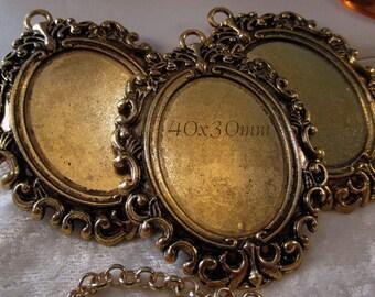 """40x30mm Antique Gold Setting - """"Enchantment VII"""" - 3 pc : sku 11.17.14.1 - U17"""