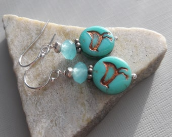 Sterling Silver And Green Glass Bird Earrings