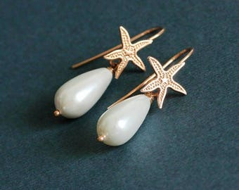 Gold White Pearl Drop Earrings Starfish and Pearl Silver 925 Rose Gold Plated Earrings Silver Earrings Gold Earrings Silver 925 Drop Earring
