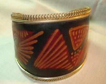 Vintage African Tribal Jewelry Cuff Bracelet Leather Copper Hand Made Crvd 00183
