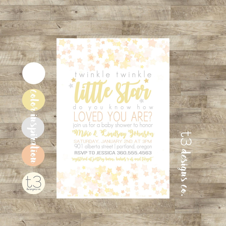Twinkle Twinkle Little Star Baby Shower Invitation, Gender Neutral ...