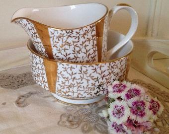 Vintage Gold and White Cream Jug and Sugar Bowl. Creamer set.