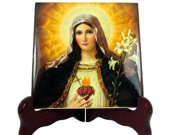 Christian icon on tile - Immaculate Heart of Mary - catholic gift idea - made in Italy - Virgin Mary icon - Virgin Mary art - christian art