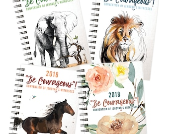 "2018 ""Be Courageous!"" Convention of Jehovah's Witnesses Notebooks w/ Program Talk Titles"