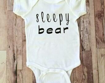 Sleepy Bear - Baby Bodysuit - Kid Shirt