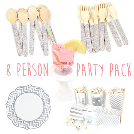 8 person Party Pack Silver, Plastic Cups, Wood Forks Spoons, Silver Chevron Paper Plate Popcorn Box Treat Box, Sale Closeout Baby Shower