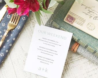 Wedding Agenda Card, Printable Wedding Timeline Letter, Events Card, Monogram, Itinerary, Agenda, Hotel Card - INSTANT DOWNLOAD