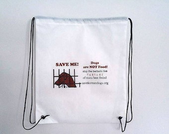 Animal rescue charity fundraiser. drawstring BackPack Save Korean Dogs