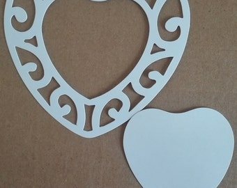 8 x Lace Heart Frame Die Cuts