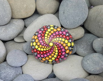 Mix Colour Painted Rock Mandala - Chakra Stone - Hand-Painted Meditation Mandala Rock - Home Decor - Boho - Rock Art - Painted Stone