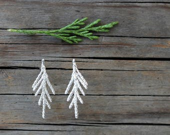silver juniper twigs earrings, branch earrings stud, woodland wedding, sterling silver earrings leaf, minimalist earrings, bohochic earrings