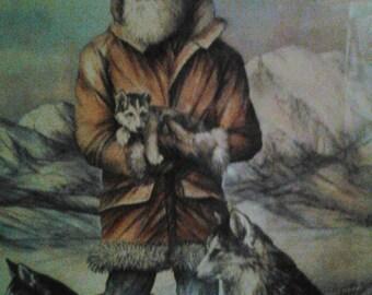 1981 Doug Lindstrand  Signed Matted and Framed Alaskan Sketch
