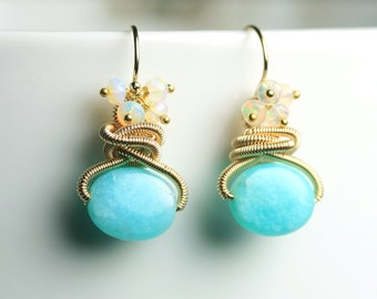 Amazonite Earrings. Welo Opal Cluster Earrings.