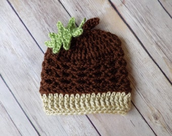Baby Acorn Hat, Fall Hat, Newborn Baby Hat, Photography Prop