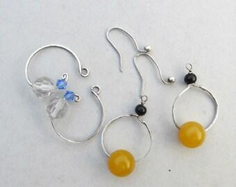 Interchangeable earrings, sterling hoop earrings, two pairs earrings, silver hoops, crystal earring, black yellow earring, blue white dangle