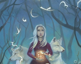 "Girl with Wolves Art, 9X12 Magical Forest Painting, White Hair Witch Art Print,  ""Pathfinder"""