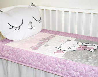 Personalized Baby Blanket, Kitty Crib Blanket, Custom Cat Quilt  Blanket, Soft Toddler Blanket, Gray Pink Purple White Baby Blanket,