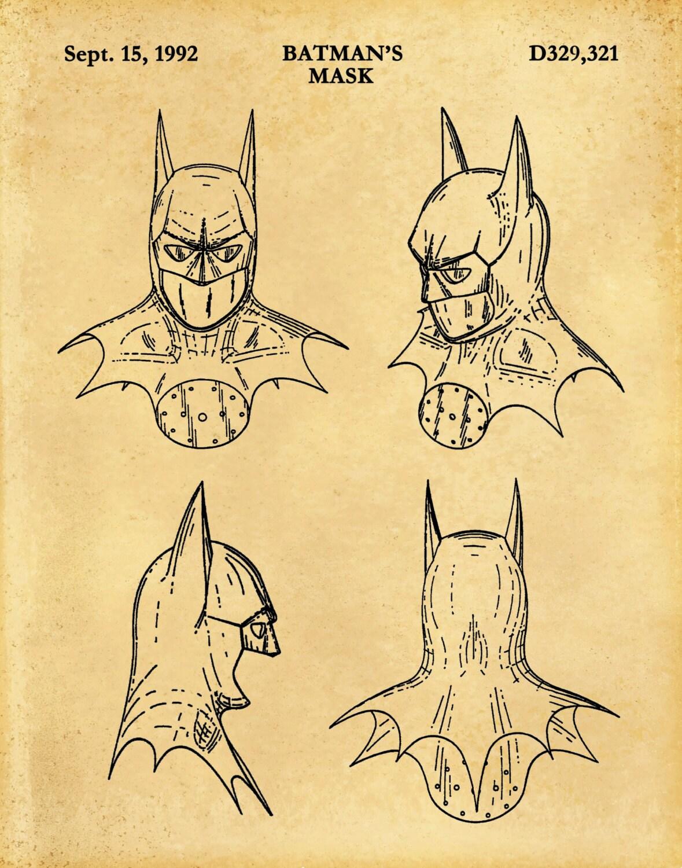 Patent 1992 Batman Mask - Art Print - Poster Print - Wall Art ...
